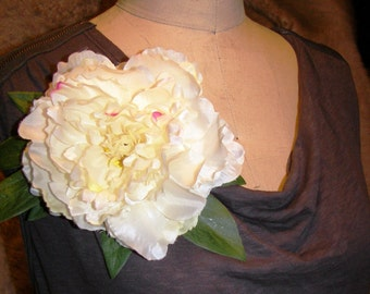Beautiful White Blush Peony Floral Pin