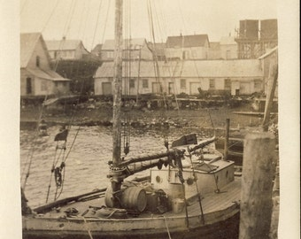 New England FISHING VILLAGE with BOAT in Foreground in Artistic Photo Postcard Circa 1910s