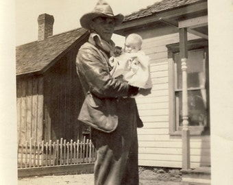 Rugged COWBOY Holds Baby Girl DAUGHTER In TENDER Photo Circa 1930s