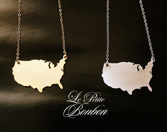 USA America states country map necklace