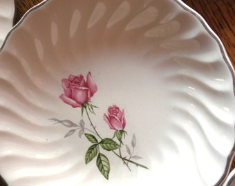 Rose Silver Rimmed Desert Bowls For Mix and Match Shabby Chic