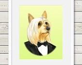 Australian Silky Terrier Art - Australian Silky Terrier Groom - Dog Portrait Painting - Wedding Dog Art