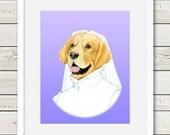 Golden Retriever Art - Golden Retriever Bride Dog Portrait Painting - Wedding Dog Art, dog gift, dog home decor