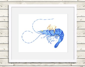 Rabbit Art - Rabbit Riding Blue Tiger Shrimp - Animal Art, rabbit painting