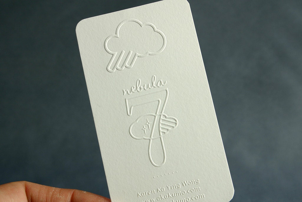 200 business cards blind embossed 16pt heavy nouveau stock for 200 business cards