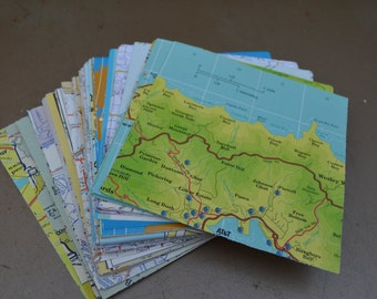 Maps (24)  4 in. x 4 in. colorful vintage map pieces