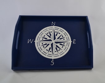 Nautical Compass Wooden Serving Tray with Handles, Coffee Tray, Breakfast Tray