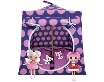 Toy Pop Up Tent, Sleeping Bags, purple, large dot print fabric for dolls, stuffed animals