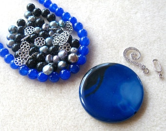 Agate Coin Pendant, Jade Beads, Freshwater Pearls, Jewelry Making Beads, DIY Jewelry Kits, Craft Supplies, Blue Beads, Bead Kit,  ON SALE!!