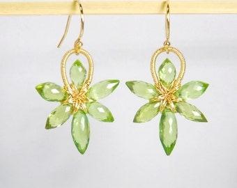 Grade AA-AAA peridot earrings, August birthstone earrings, flower 14K gold filled earrings