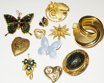 Vintage Destash Brooch Lot and More Butterflies Hearts and Flowers