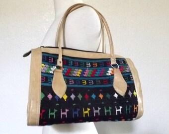 SALE Vintage Boho Purse, Colorful Embroidered Textile & Leather Handbag - Guatemala
