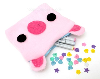 Pig Zipper Pouch - Pencil Pouch, Pencil Case, School Supplies, Make Up Bag, 3DS Case, Phone Case, Coin Purse