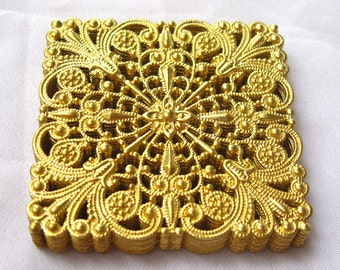 6pcs Square Brass Stampings Filigree Findings for Jewelry Fashion Design bf112