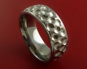 Titanium Golf Ball Ring Textured Dimple Pattern Band Made to Any Sizing and Finish 4-22