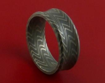Damascus Steel Ring Wood Grain Pattern Wedding Band Zebra Look