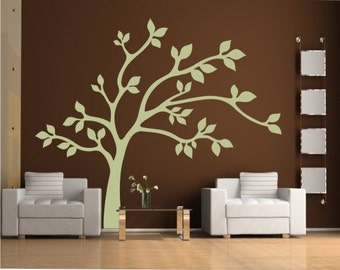 Big tree vinyl wall decal, removable tree decals stickers, nature decals