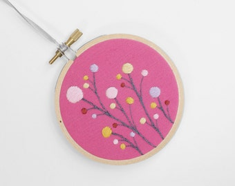 "Cute, Bright Hand-Embroidered Dot Flowers Ornament, Embroidery Hoop Art in 3"" Hoop For the Home"