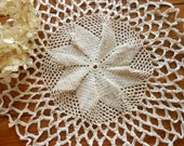 Vintage Doily Hand Crocheted With Gold Foil Thread
