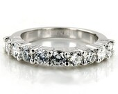 14kt White Gold Nine-Stone Anniversary Ring Wedding Band Mounting 2.8mm 0.75pts Size 3 4 5 6 7 8 9 Plus Half Sizes