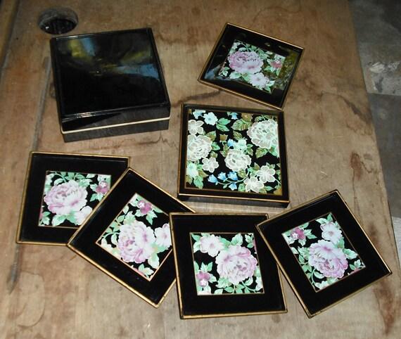 Vintage Otagiri Tavistock Laquerware Set 5 Coasters in Matching Box Floral Garden Japan Retro Serving Dish Dining Home Kitchen