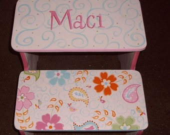 Custom Step Stool Pink  PB Paisley STEPSTOOL Bathroom Bench Kids Furniture  Decor Steps and Stools Bench