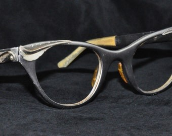 Tura Cat Eye Glasses, Matte Gray with Leaf Brow, 1950s, 1960s