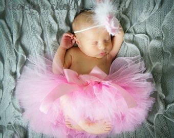 PRINCESS PINK tutu and headband, pink tutu, baby tutu, newborn tutu, newborn photography prop, tutu and headband set
