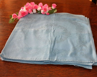 Vintage Damask Napkins Blue Set of 12 Unused