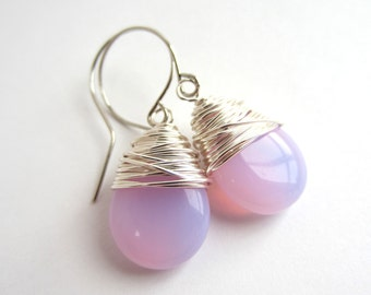 Opal Pink Earrings Wire Wrapped Earrings Dangle Earrings Tear Drop Earrings Wire Wrapped Jewelry Handmade