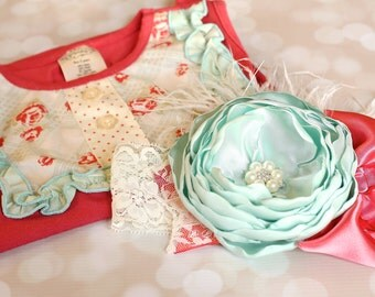 Couture Satin Headband - Persnickety Spring 2014 - Mint Green and Coral Stain Flower Headband - Spring Headband - Baby Girl Couture Headband