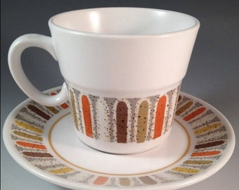 Cool Noritake Mardi Gras cup and saucers Set of Four Retro Vintage Atomic