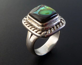Handmade Sterling and Abalone Shell Ring - Silver Shell Ring - Custom Made Paua Shell Ring