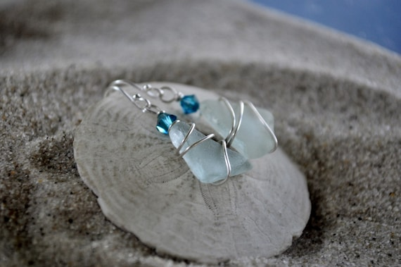 Seaglass Earrings  - Aqua Blue Seaglass Jewelry - Wire Wrapped with Crystal Accent