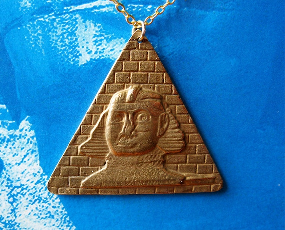 Sphinx and Pyramid - Pendant - Necklace - Bronze - Gold Plated Chain - Egypt - Charm - Handmade