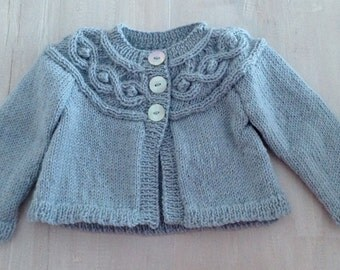 Beautiful Pure Wool Cable Cardigan......Hand Knitted in New Zealand....... Available to Ship NOW