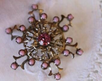 Pink rhinestone snowflake vintage brooch pin