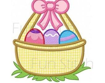 Easter egg basket applique machine embroidery design