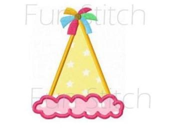 Birthday hat applique machine embroidery design