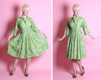 FABULOUS Mid-century Op Art 1950's New Look Pure Silk Party / Day Shirtwaist Dress - Painted Rich Green Jewel Tones Block Art Print - Size L
