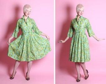 FABULOUS Mid-century Op Art 1950's New Look Pure Silk Party / Day Shirtwaist Dress - Painted Rich Green Jewel Tones Block Art Print - Size L