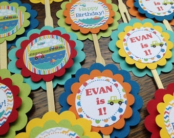 Transportation Collection: Cupcake Toppers, Set of 12. Cars Plane Trucks Trains Cupcake Toppers. Cupcake Picks. Forks. Boy. Birthday Party.