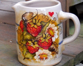 Retro Handpainted Crock Jug 1960s