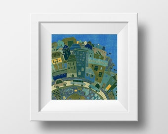 CITY - art print // digital illustration // blue town cars boys nursery wall decor