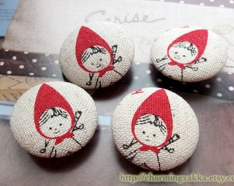 Fabric Covered Buttons (M) - Cute Little Red Riding Hood (4Pcs, 0.87 Inch)