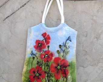 Felt Wool Tote Red Poppy Field, handmade One of kind Felted handbag,handmade, OOAK ,  eco-friendly, Ready to Ship
