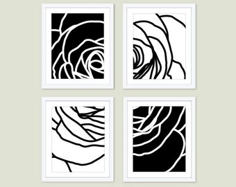 Modern Rose Art Prints - Deconstructed Flower Wall Art - Black and White - Modern Contemporary Spring Summer Decor