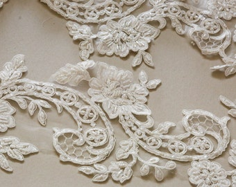 Large Ivory Bridal Lace applique - AppSet-033
