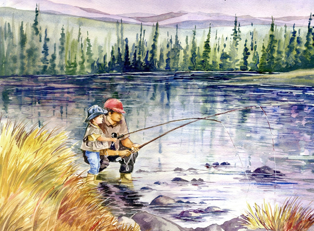 Fly fishing with dad in the mountains watercolor painting for Fly fishing art