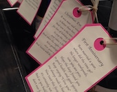 6 Personalized Printed Wedding Shower Wine Gift Tags